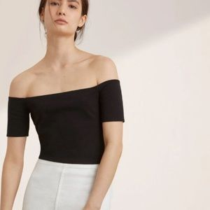 Wilfred Free Black Crop Off the Shoulder Top